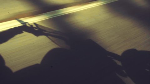 Shadow of motorcycle and biker on the road