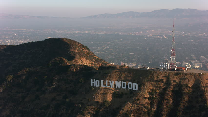 Los Angeles, California circa-2017, Aerial view of Hollywood sign. Shot with Cineflex and RED Epic-W Helium.