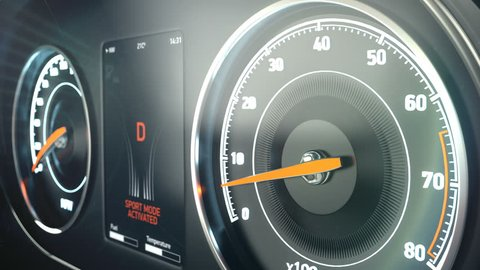 Dangerous fast driving, speedometer of speeding car, sports race, launch control.