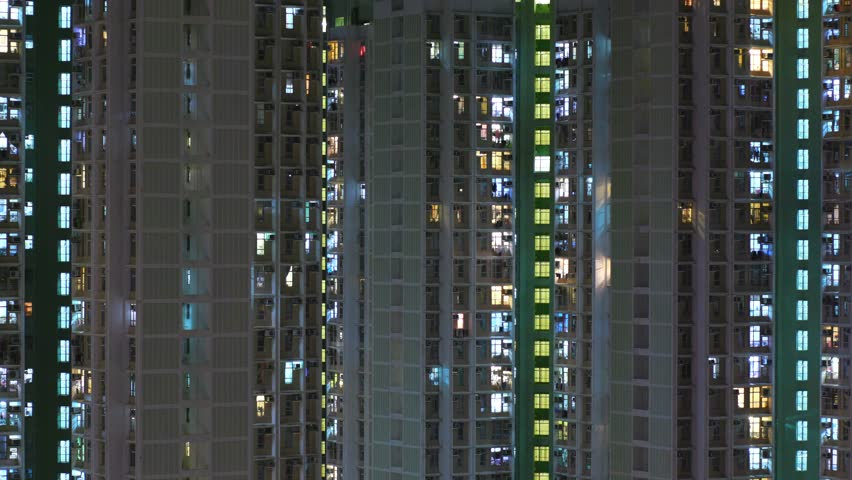 Time lapse of building facade in Hong Kong at night  | Shutterstock HD Video #31654792