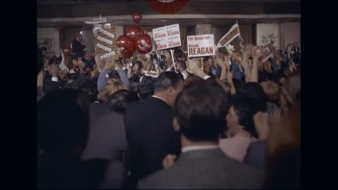 CIRCA 1968 - Ronald Reagan addresses a chering crowd after he is elected governor of California.