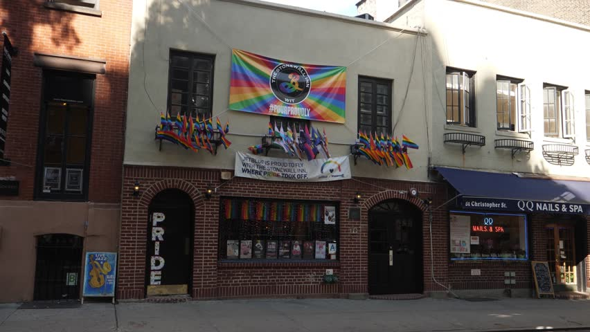 NEW YORK CITY - Circa October, 2017 - A daytime exterior establishing shot (DX) of the Stonewall Inn, a gay bar and tavern in Greenwich Village in Manhattan.