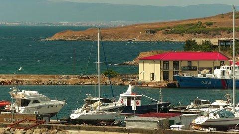 Marina and port in Sozopol, Bulgaria on Black Sea coast.