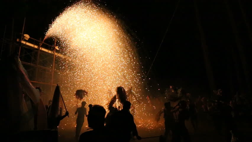 Annual festival in the Omiya Isuzu Shrine in Komagane city, Japan. Dedication of pipe fireworks called Large Mikuni is carried out in September. With sound. | Shutterstock HD Video #31710883