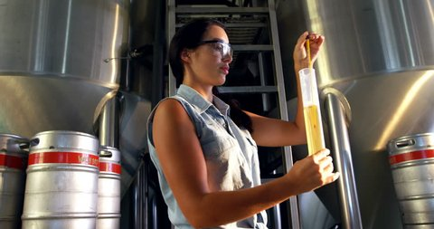 Female brewer testing beer at brewery factory 4k