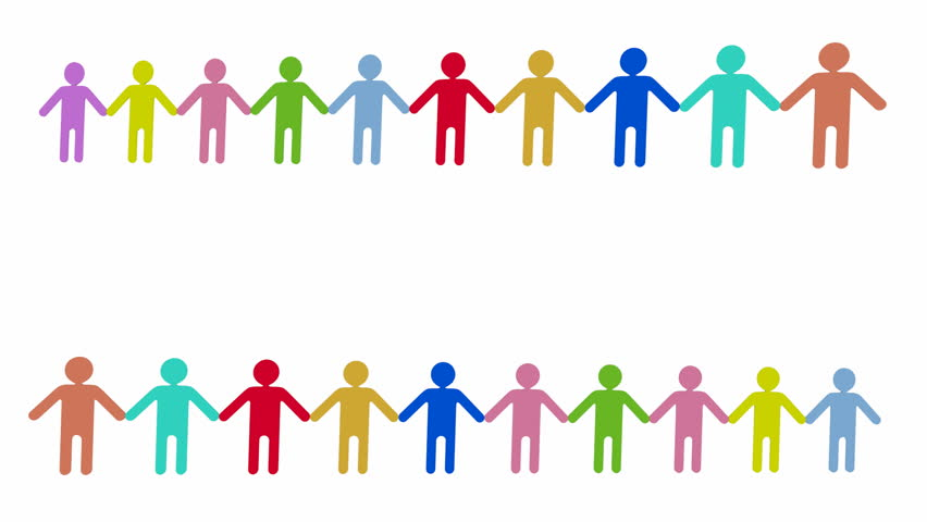 Team Of Paper Dolls People Holding Hands And Make Circle