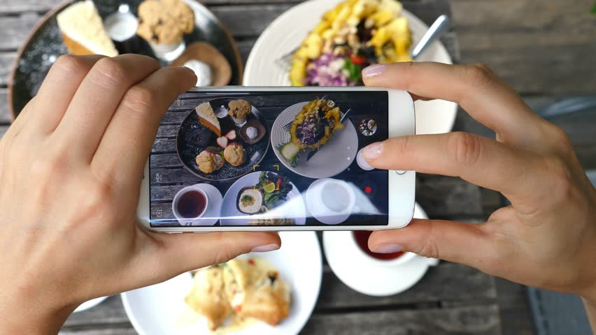 Woman Hands Taking Photos Of Dinner Food By Smartphone. Closeup. 4K.  | Shutterstock HD Video #31749106