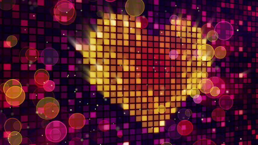 heart shape on digital screen and lights seamless loop