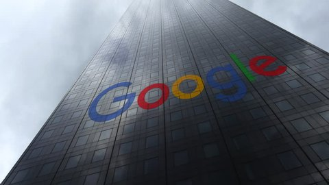 Google logo on a skyscraper facade reflecting clouds, time lapse. Editorial 3D rendering