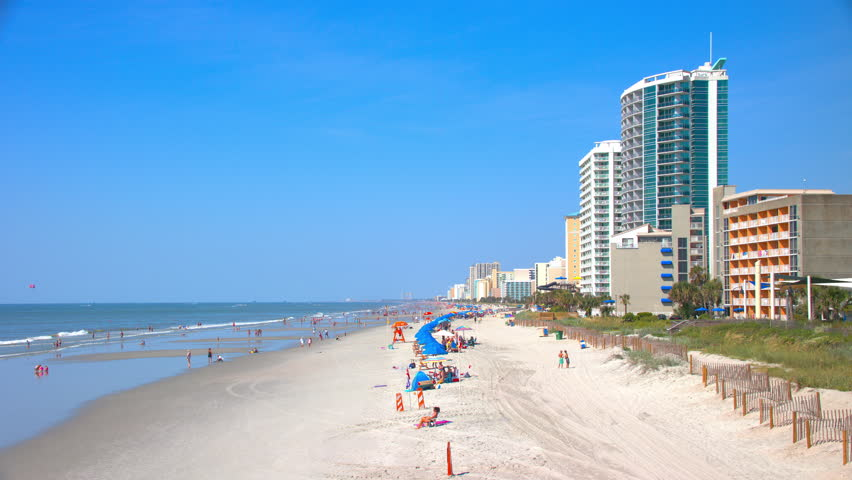 Myrtle Beach SC Wide Generic Beachfront Vacation Scene with Visitors Enjoying the Sun and Sand During the Summer Season on the East Coast of South Carolina