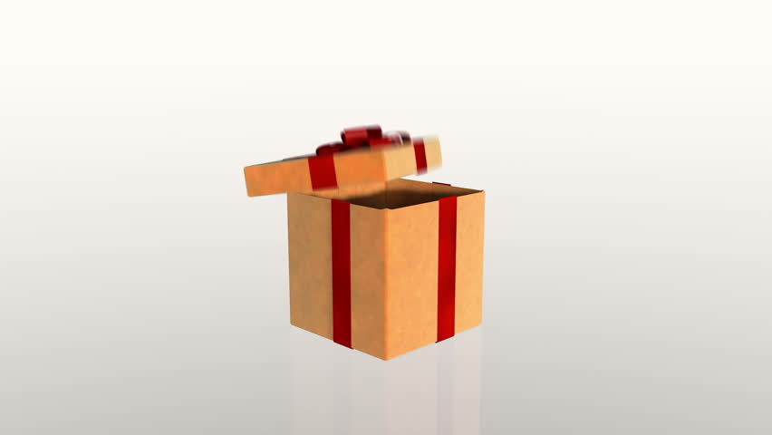 Gift box opening lid to present a virtual product, on white
