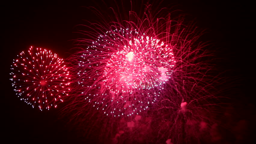 Colorful Firework lights streaks in the night sky in Full HD 1080p with sound