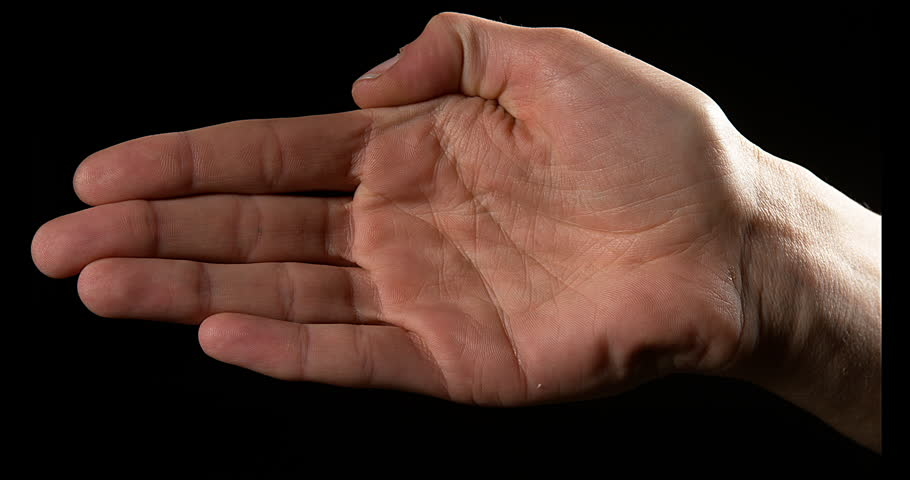 Hand of Woman against Black Background, Slow Motion 4K