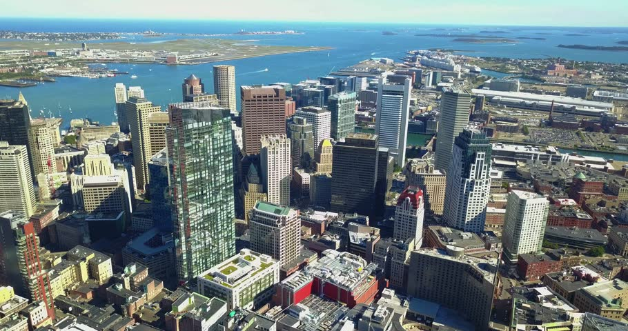 Boston Aerial. Flying backward over downtown 4k