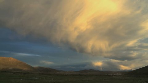 Big cloud Time lapse at sunset in the Andes, Bolivia