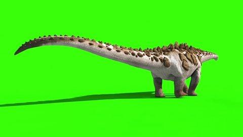 Dinosaur Titanosaur Walks Green Screen 3D Rendering Animation Jurassic World