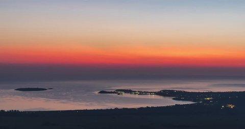 Time-laps. Bulgaria. Sunrise over the Black Sea coast over Burgas. Sozopol