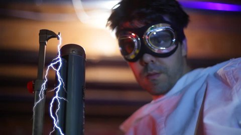 Mad scientist running some crazy electrical experiment.
