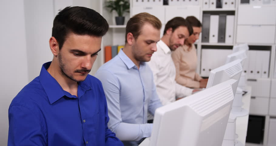 Busy Team of Business People Collaboration in Company Office Teamwork Activity | Shutterstock HD Video #31901983