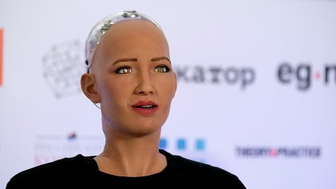 Moscow, Russia - October 1, 2017: Sophia humanoid robot says a message to Prime Minister Dmitry Medvedev in Russian at Open Innovations Conference at Skolokovo technopark