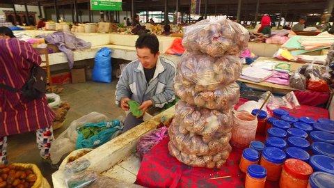 THIMPHU/BHUTAN/19 March, 2017: Bhutan market in Thimphu, Bhutan.
