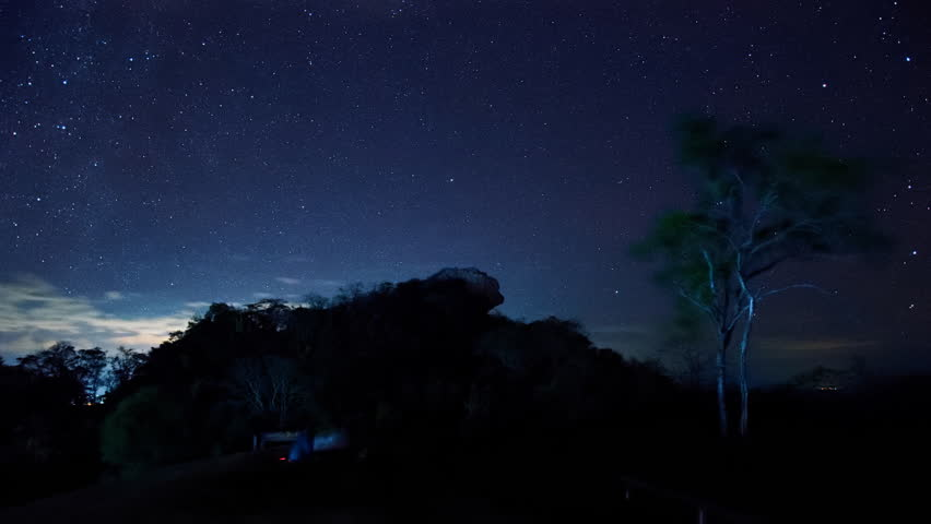 Star trail at Pha Hua Sing in the night, The name of Lion face rock at Doi Samer Dao national park in Thailand