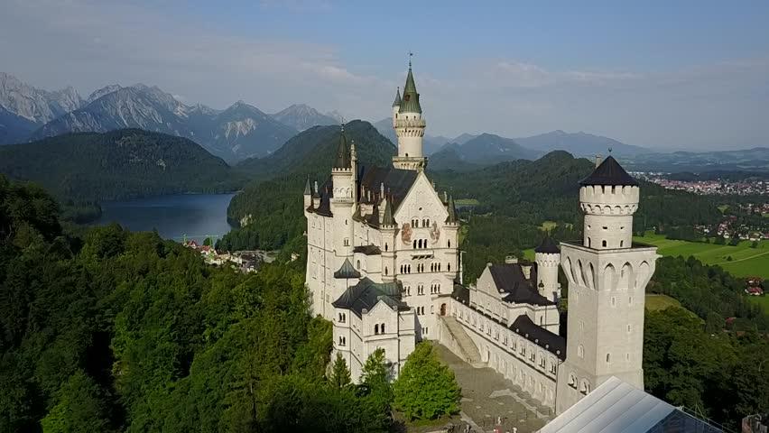 Neuschwanstein Castle in Fussen, Bavaria, Germany in a beautiful summer day | Shutterstock HD Video #31957723