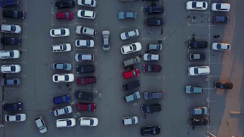 Aerial view Above Storage Parking Lot of Cars,   Shutterstock HD Video #31959733