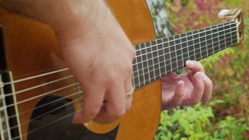 Guitarist Intensive Plays Music By Classic Acoustic Guitar At Autumn Park Close Up
