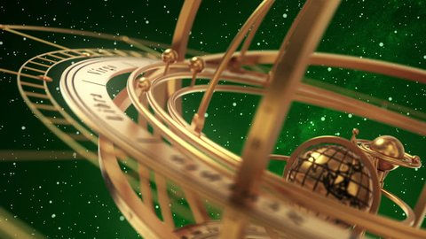 Armillary Sphere On Green Background Of Starburst. 3D Animation. Seamless Looped.