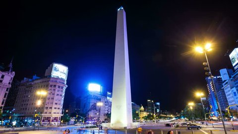 BUENOS AIRES - JAN1: Hyperlapse Night view of the Obelisk of Buenos Aires in timelapse sowing people and traffiv moving about the city on 1 January 2013 in Buenos Aires, Argentina