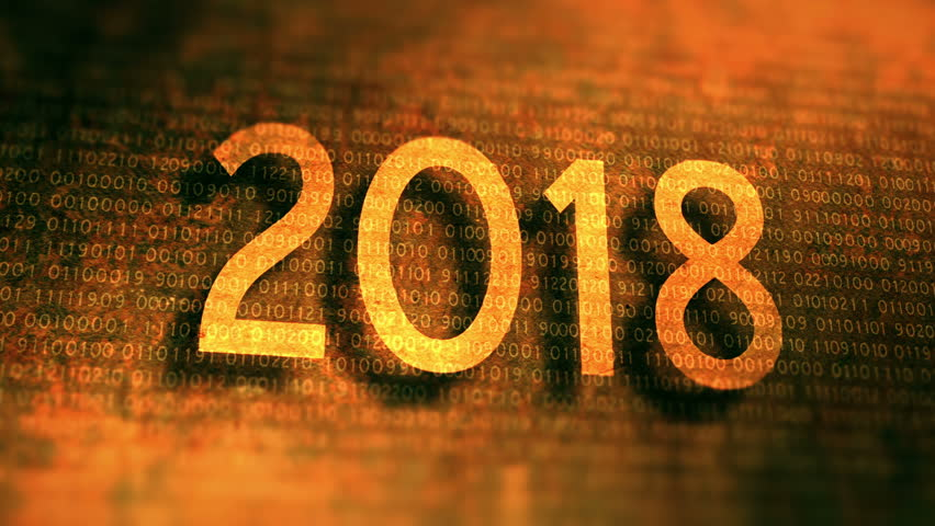 Rusty metal plate with new year 2018. 4K UHD animated video.