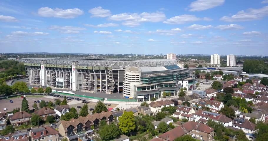 TWICKENHAM, ENGLAND - 27 JUNE, 2017. Aerial view of Twickenham Stadium, this sports venue is the home stadium of the English rugby union team. TWICKENHAM, LONDON, ENGLAND, 27 JUNE, 2017, EDITORIAL
