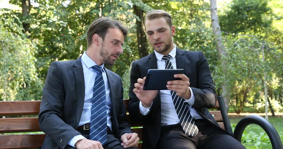 Ceo Business Men Talk Using Digital Tablet Partnership Collaboration Park Nature | Shutterstock HD Video #32067061
