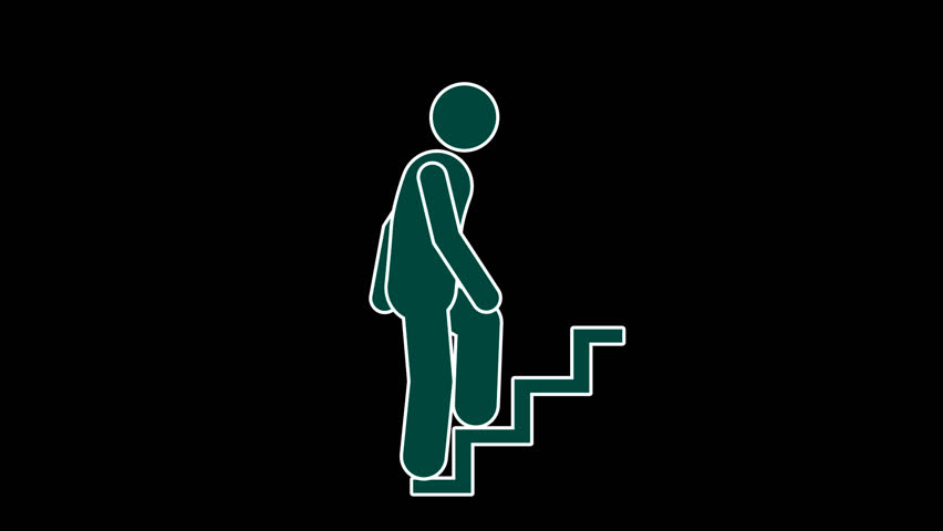Infographic pictograms stick figure walking up looped animation with alpha channel | Shutterstock HD Video #32067622