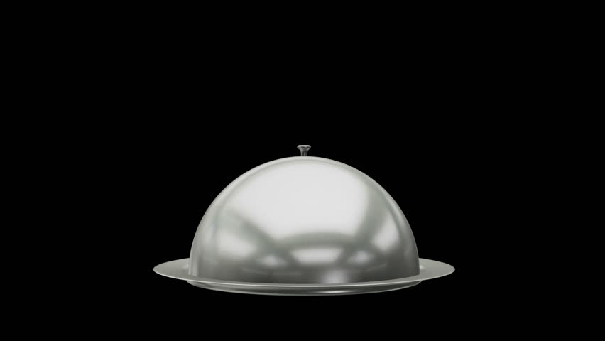 Restaurant cloche on plate open. Motion Animation. Video available in 4K FullHD and HD render footage on black