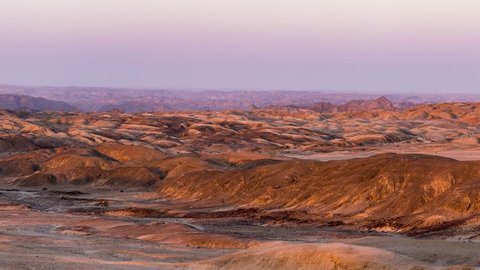"Panorama on barren valleys and canyons, known as ""moon landscape"", Namib desert, Namib Naukluft National Park, travel destination in Namibia, Africa."