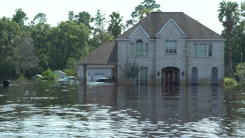 Houston, Texas - United States - August 27, 2017: Flooded house during hurricane Harvey in Houston, Texas