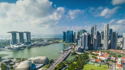 SINGAPORE - AUGUST 22: Marina bay quay in the centre of Singapore on August 22, 2017 Hyperlapse