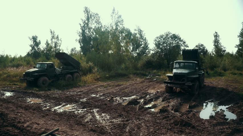 Military vehicle standing on shooting range. Russian military equipment on vehicle for shooting