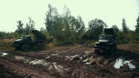 Military vehicle standing on shooting range. Russian military equipment on vehicle for shooting