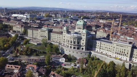 Aerial view of the Federal Palace of Switzerland, House of Parliament, Bern, Switzerland.  Bern is capital of Switzerland. In 1983, Bern became a UNESCO World Heritage Site