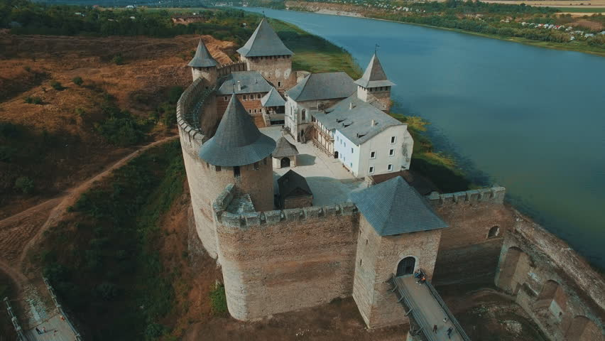 Old castle on the river bank aerial drone footage | Shutterstock HD Video #32131963