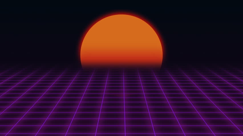 Retro futuristic grid and sunset 80s retro sci fi - Space 80s wallpaper ...
