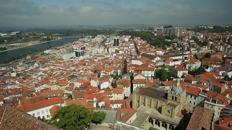 Coimbra panoramic view from bell clock tower. Coimbra skyline on Mondego river. Coimbra in Central Portugal, is famous for its University.