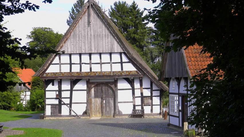 Idyllic rural Scene with half-timbered building in westphalia  | Shutterstock HD Video #32188873