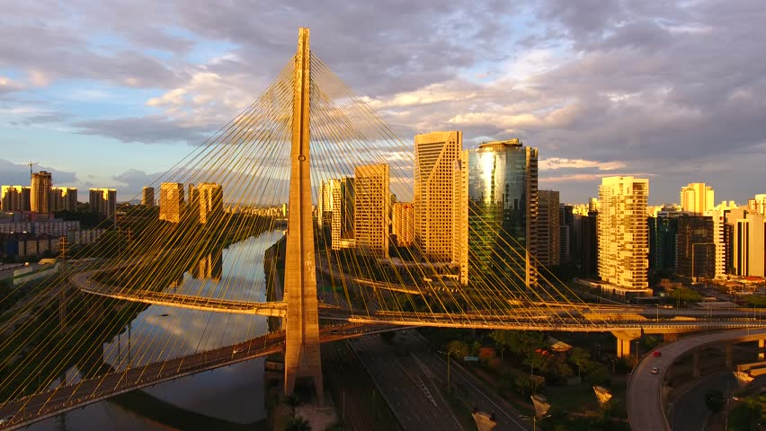 Aerial view of Octavio Frias de Oliveira Bridge, a landmark in Sao Paulo, the biggest city in Brazil