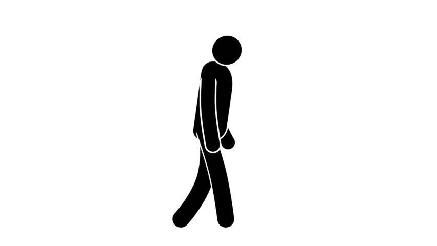 Pictogram people walking sadly. Loop animation with  included alpha channel.
