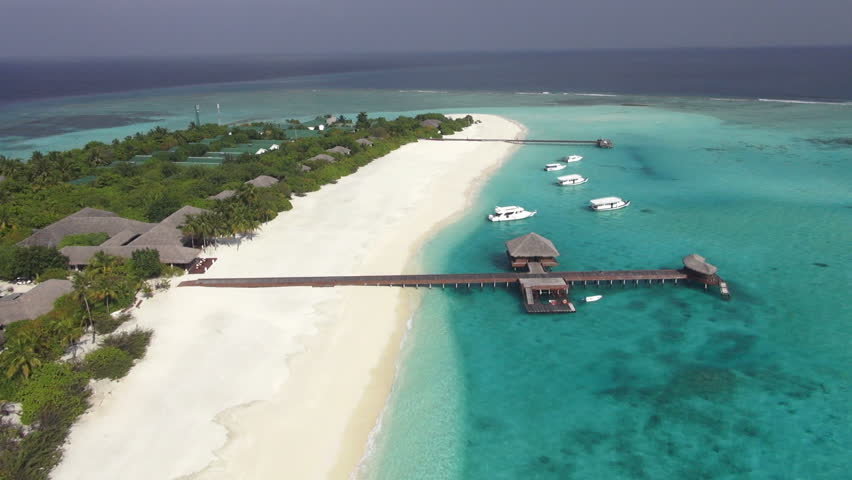 aerial view of maldive island with amazing lagoon - HD stock video clip