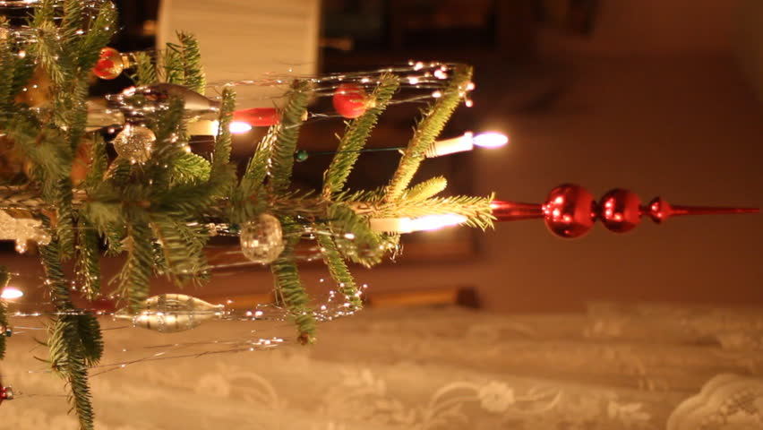 vertical live christmas tree with real fire burning candles old european style hd stock - European Christmas Tree